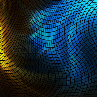 Abstract Blue And Yellow Lights 3d Mosaic Horizontal
