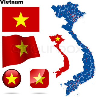 Vietnam vector set. Detailed country shape with region borders, flags and icons isolated on white background.