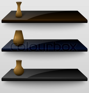 Three vector shelves with vases