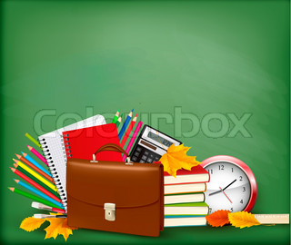 Back to school  Green background with school supplies and autumn leaves