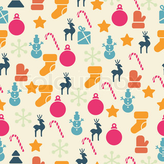 Vector seamless pattern with retro Christmas icons