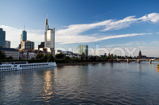 cityscape of Frankfurt from Main river