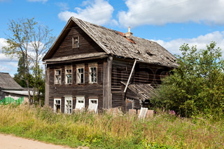 Old wooden house in russian village.