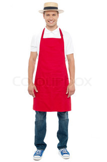 Chef with a hat isolated against white background