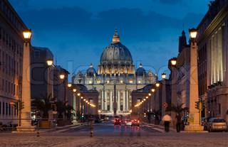 The magnificent evening view of St. Peter's Basilica in Rome