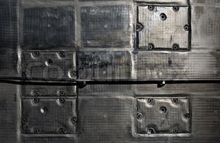 Modern military submarine fragment:panels on the wall of superstructure