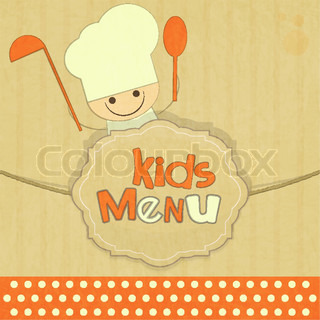 Design of kids menu with smiling chefs