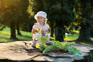 Portrait of a little girl in the park