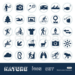 Sport, vacation and nature web icons set