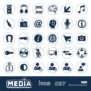 Media and business icons set