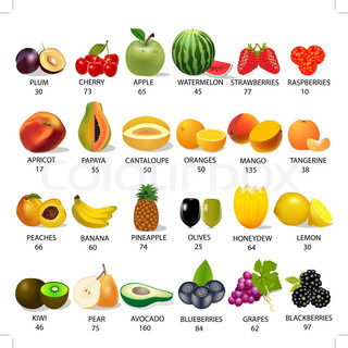 set amount calories in fruit on white