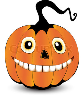 Pumpkin face with a smile vector colourbox for Surprised pumpkin face