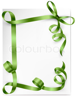 Card with green gift bows with green ribbons