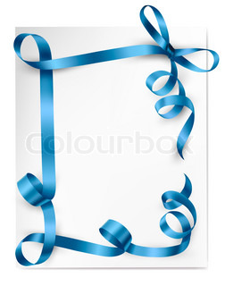 Christmas background with blue gift bow with blue ribbons