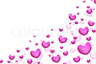 Pink hearts isolated on white background