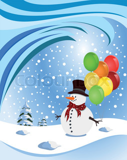 Happy snowman holding colorful balloons Illustration