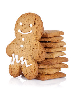 Gingerbread man and cookies Isolated on white background
