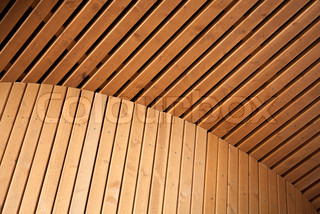 Abstract architecture background with wooden planking curved construction Scandinavian natural design example