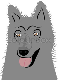 gray dog on a white background Abstract vector drawing