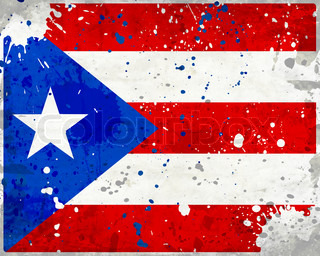 Grunge Puerto Rico flag with stains - flag series