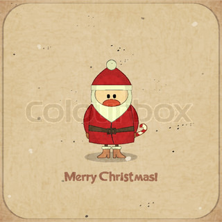 Merry Christmas Retro card with Santa Claus