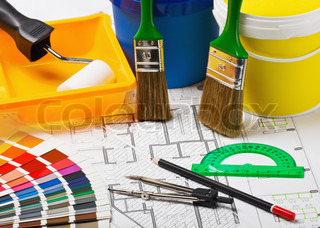 materials and supplies for repair at the architectural drawing