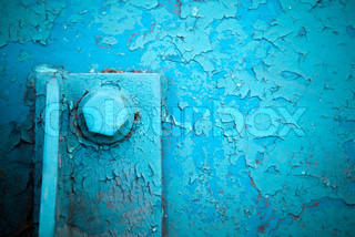 grunge industrial background with old blue painted steel construction and bolt