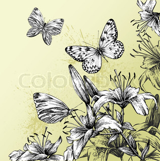 Background with blooming lilies and beautiful butterflies, hand-drawing. Vector illustration