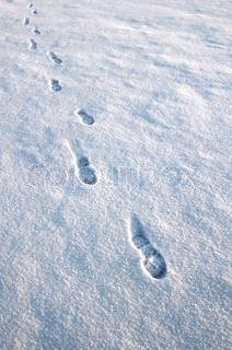 Approaching footprints in the snow