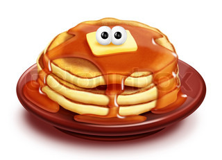 Whimsical Cartoon Pancake Stack with Syrup and Butter
