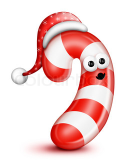 Whimsical Cartoon Candy Cane in Santa Hat