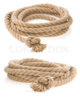 ship rope tied with knot isolated on white