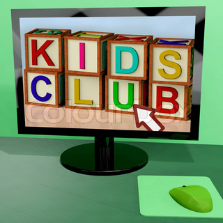 Kids Club Blocks On Computer Shows Childrens Learning