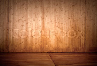 Empty wooden stage interior background