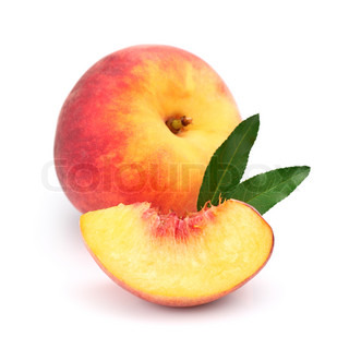 Juicy peach with slice