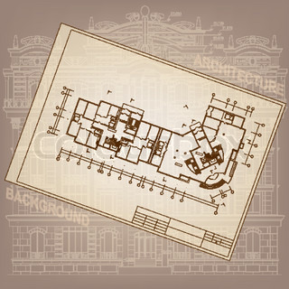 Architectural background with rolls of drawings vector for Paper for architectural drawings