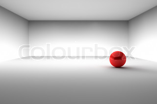 Red Ball in Empty Room