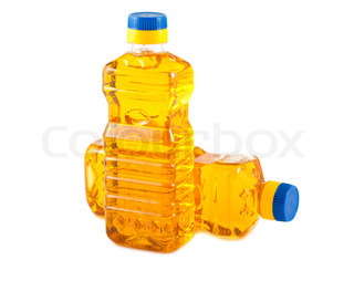 Two plastic bottles with vegetable oil