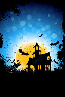Grunge Background for Halloween Party with Pumpkin Haunted House and Bats