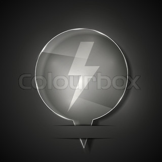 Vector glass lightning bolt icon on gray background Eps 10