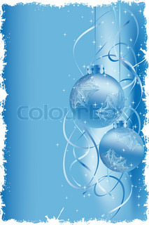 Grunge Background with snow and bolls for your design on blue background