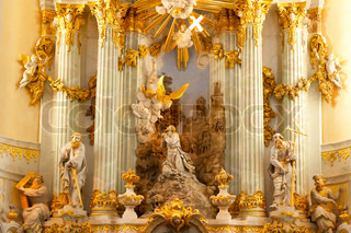 Interior of church in Dresden, church of our lady,Germany