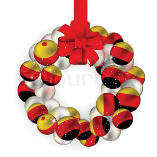 Christmas wreath decoration from Germany baubles on white