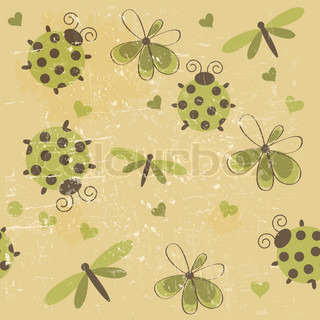 Romantic seamless pattern with dragonflies, ladybugs, hearts and flowers on a white background Raster version