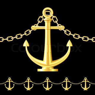 Seamless Gold Fence Featuring An Anchor