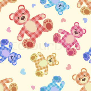 Seamless bear light patchwork pattern