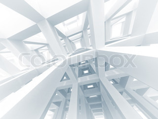 3d abstract architecture background Internal space of a modern white braced construction