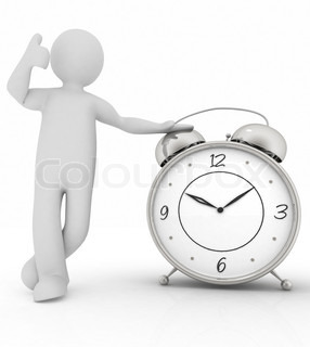 3d man stands next to the clock
