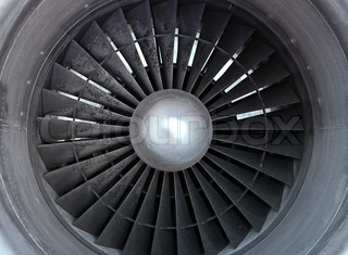 Turbine of airplane, closeup