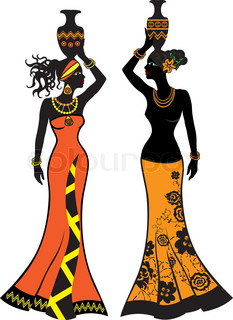 Beautiful African woman with vases,  two versions